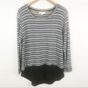 TWO by VINCE CAMUTO Multi Fabric Sweater Blouse